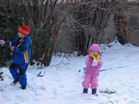 [Photo: Faythe and Esperanza in the snow.]