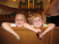 [Photo: Esperanza and Faythe in the LDS Tabernacle]